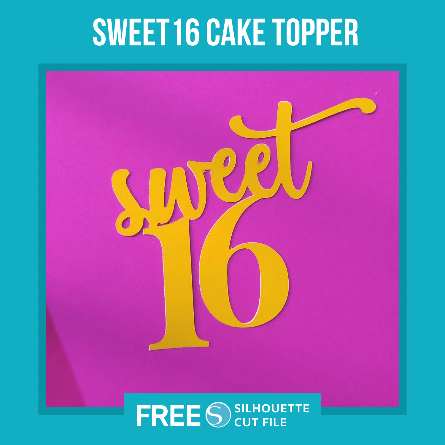 Sweet 16 Cake Topper Template
