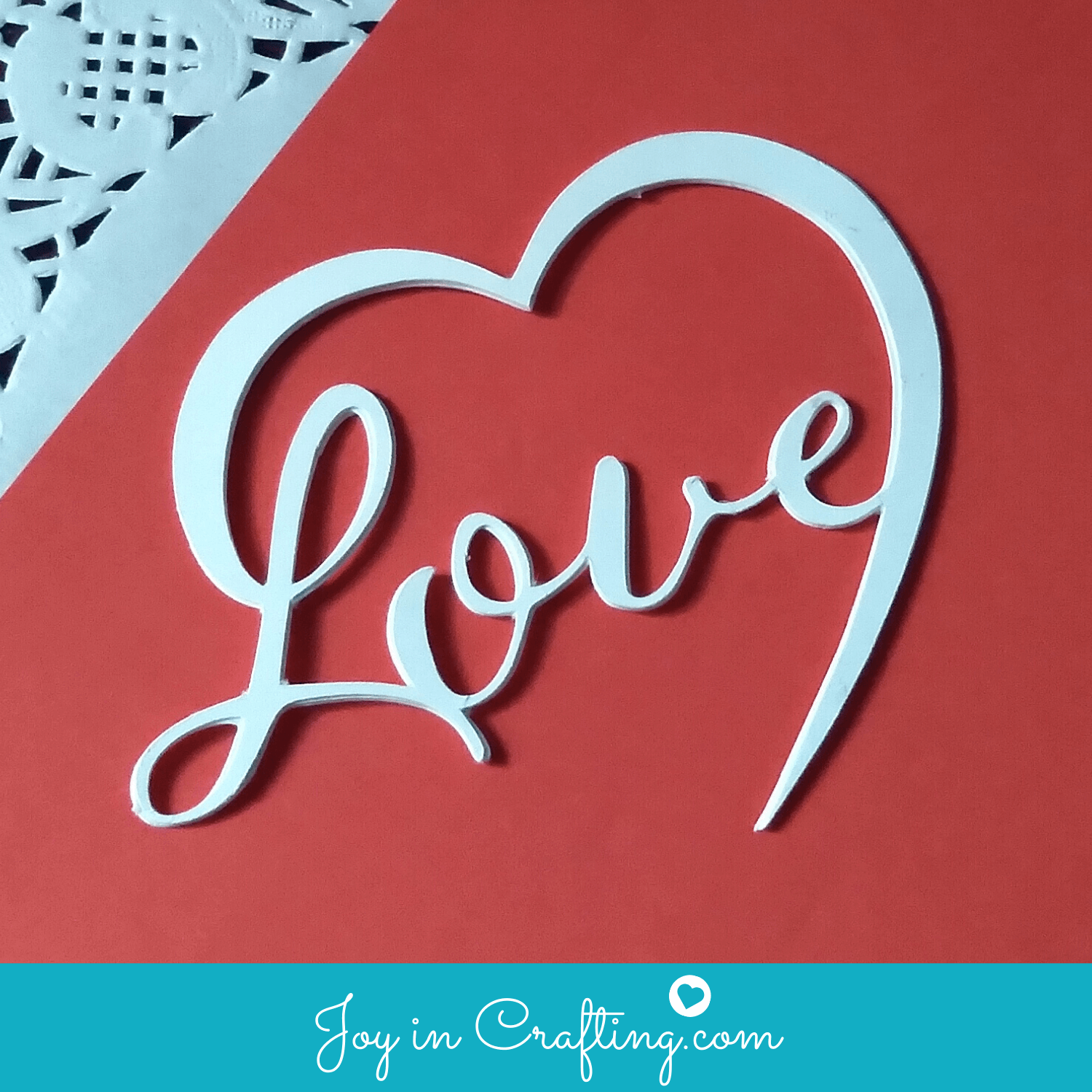 Emerald Ink Design Heart Love Cake Topper