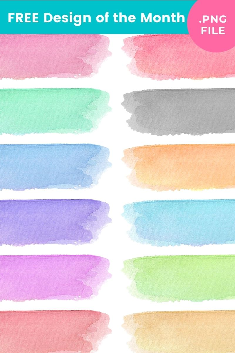 Free Colorful Watercolor Brush Strokes Set