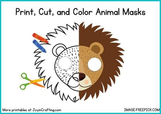 Amazing Animal Mask Printable Coloring Page