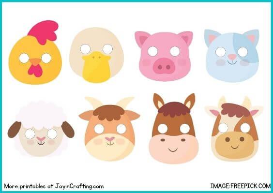 Farm Animal Mask Printable Coloring Page